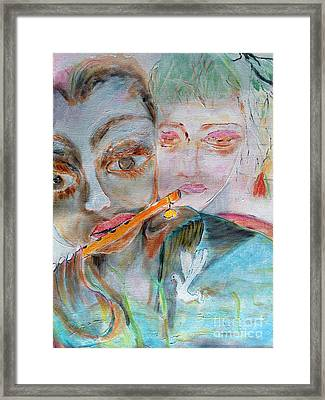 When She Fall In Love With The Vagabond Flute Player Framed Print