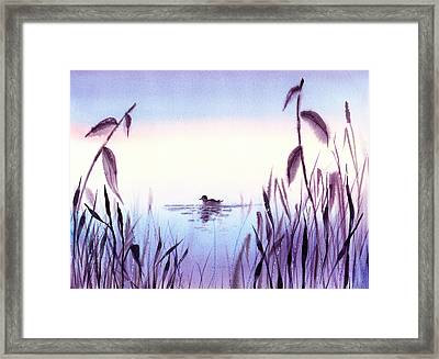 When The Sky Melts With Water A Peaceful Pond Framed Print