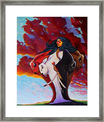 When The White Buffalo Woman First Appeared Framed Print by Joe  Triano