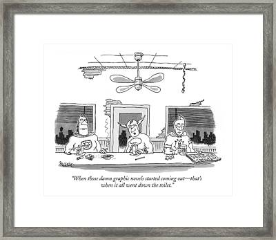 When Those Damn Graphic Novels Started Coming Framed Print by Jack Ziegler