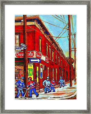 When We Were Young - Hockey Game At Piche's - Montreal Memories Of Goosevillage Framed Print by Carole Spandau