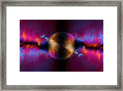 When Worlds Collide In Fire Framed Print by Elaine Plesser