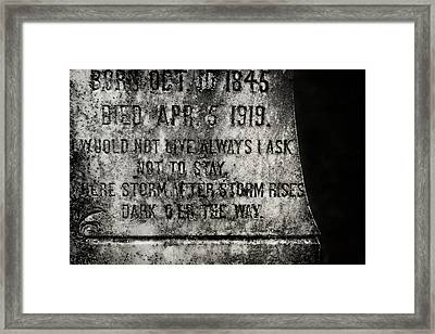 Where Dark Storms Rise Framed Print