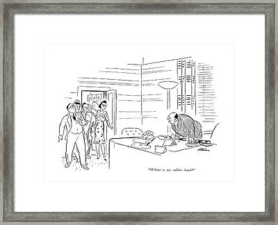 Where Is My Rubber Band? Framed Print by  Alain