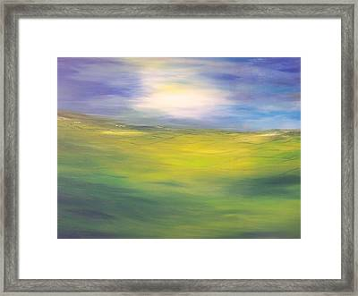 Where Land Sea And Sky Meet  Sun In My Eyes Framed Print