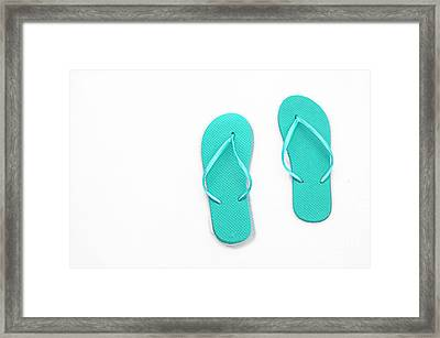 Where On Earth Is Spring - My Aqua Flip Flops Are Waiting Framed Print by Andee Design
