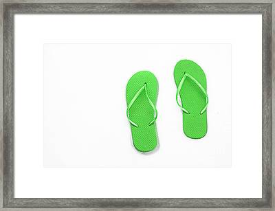 Where On Earth Is Spring - My Green Flip Flops Are Waiting Framed Print by Andee Design