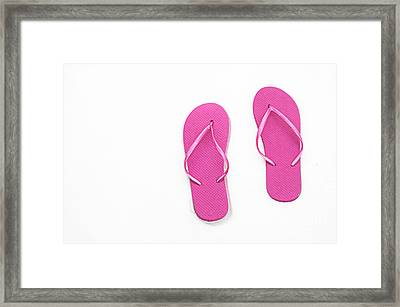 Where On Earth Is Spring - My Hot Pink Flip Flops Are Waiting Framed Print by Andee Design