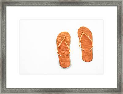 Where On Earth Is Spring - My Orange Flip Flops Are Waiting Framed Print by Andee Design
