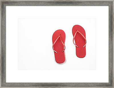 Where On Earth Is Spring - My Red Flip Flops Are Waiting Framed Print by Andee Design