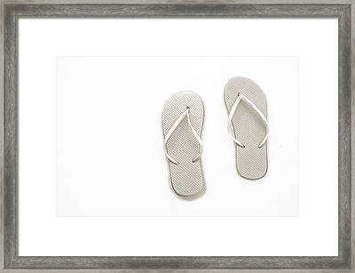 Where On Earth Is Spring - My Silver Flip Flops Are Waiting Framed Print by Andee Design