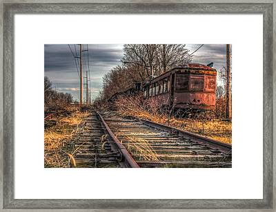 Where Trains Go To Die Framed Print by Gary Fossaceca