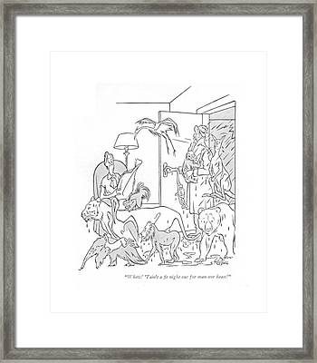 Whew! 'tain't A ?t Night Out For Man Nor Beast! Framed Print