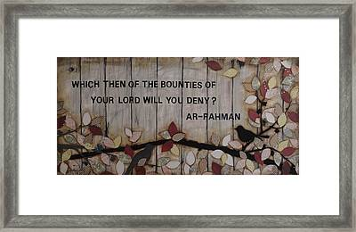 Which Favors Will You Deny? Framed Print by Salwa  Najm