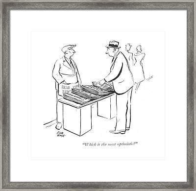 Which Is The Most Optimistic? Framed Print by Carl Rose