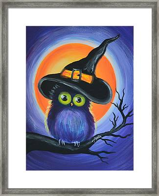 Framed Print featuring the painting Owl Spook You by Agata Lindquist
