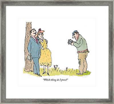Which Thing Do I Press? Framed Print by William Steig