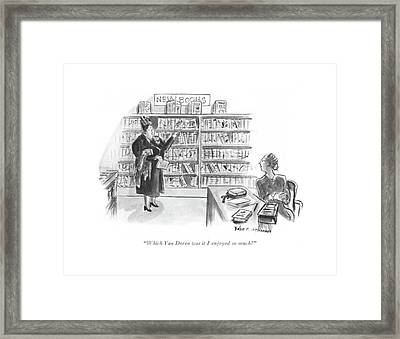 Which Van Doren Was It I Enjoyed So Much? Framed Print by Helen E. Hokinson