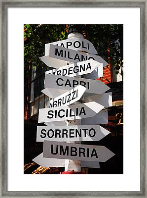 Which Way To Italy Framed Print by James Kirkikis