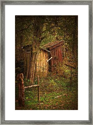 Which Way To The Outhouse? Framed Print by Priscilla Burgers