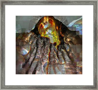 While Resting In The Body He Gave Me Framed Print by Fania Simon