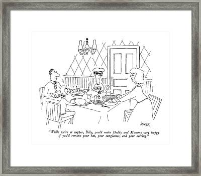 While We're At Supper Framed Print