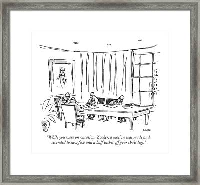 While You Were On Vacation Framed Print by George Booth