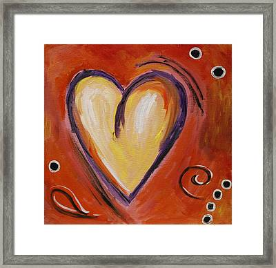 Whimsical  Abstract Art - With All My Heart Framed Print by Karyn Robinson