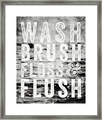 Whimsical Bathroom Decor Typography In Black And White  Framed Print