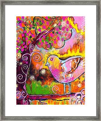Whimsical Bird On A Branch Framed Print