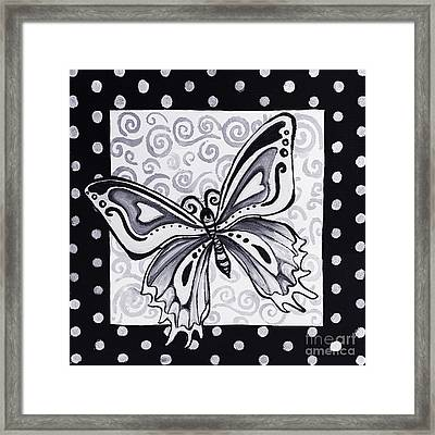 Whimsical Black And White Butterfly Original Painting Decorative Contemporary Art By Madart Studios Framed Print by Megan Duncanson