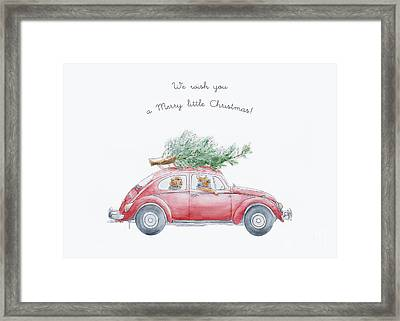 Whimsical Christmas Card Framed Print by Design Remix