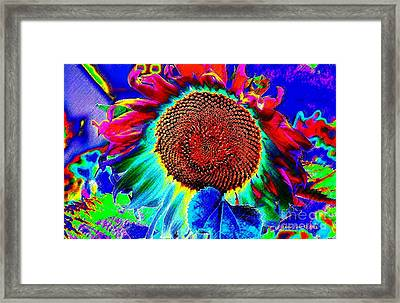 Framed Print featuring the digital art Whimsical Colorful Sunflower by Annie Zeno