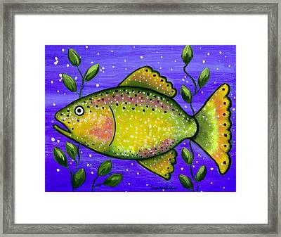 Whimsical Folk Art Fish Framed Print