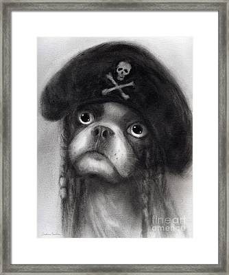Whimsical Funny French Bulldog Pirate  Framed Print by Svetlana Novikova