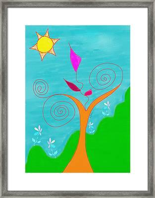 Whimsical Garden - Digital Drawing Framed Print by Gina Lee Manley