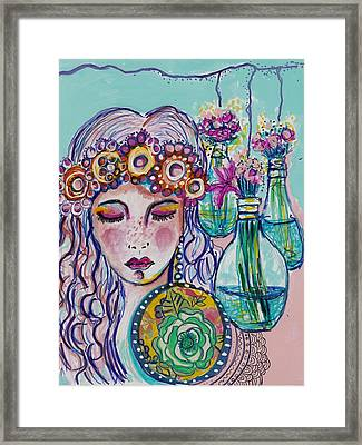 Whimsical Hippie Girl Framed Print