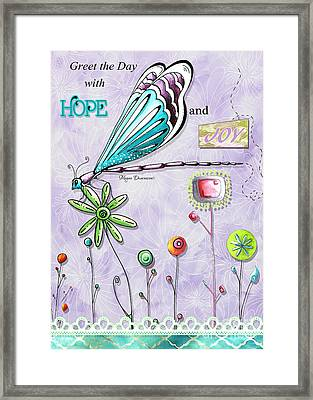 Whimsical Inspirational Dragonfly And Flower Art Inspiring Quote By Megan Duncanson Framed Print by Megan Duncanson