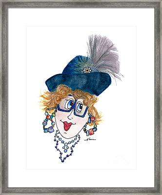 Whimsical Lady In Blue And Grey Framed Print by Nan Wright