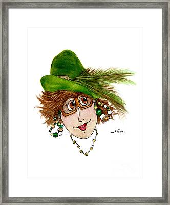 Whimsical Lady In Green Hat And Copper Sunglasses Framed Print by Nan Wright