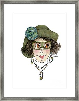 Whimsical Lady In Green Straw Hat And Blue Flower Framed Print by Nan Wright