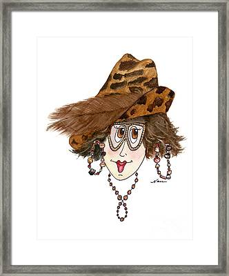 Whimsical Lady In Leopard Hat And Feather Framed Print by Nan Wright