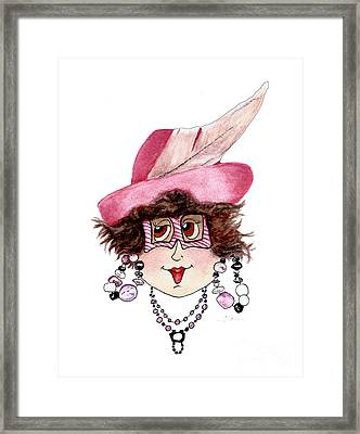 Whimsical Lady In Pink Framed Print by Nan Wright