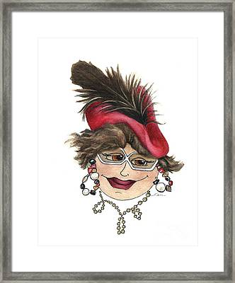 Whimsical Lady In Red Hat Framed Print by Nan Wright