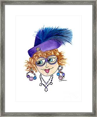 Whimsical Lady Purple With Blue Feather Framed Print by Nan Wright