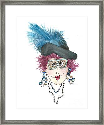 Whimsical Lady With Purple Hair Framed Print by Nan Wright