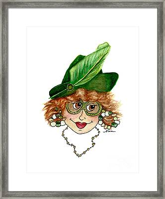 Whimsical Red Head Lady In Green Framed Print by Nan Wright