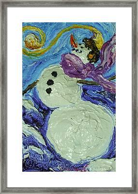 Whimsical Snowman Framed Print by Paris Wyatt Llanso