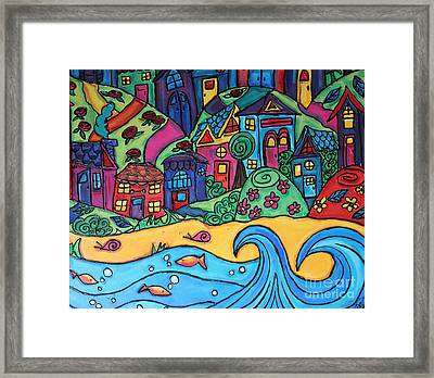 Whimsical Town Sectional  Framed Print