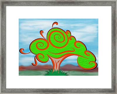 Whimsical Tree On Blurred Landscape Framed Print by Gina Lee Manley